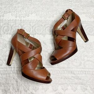 Banana Republic Brown Leather Strappy Heels Size 9